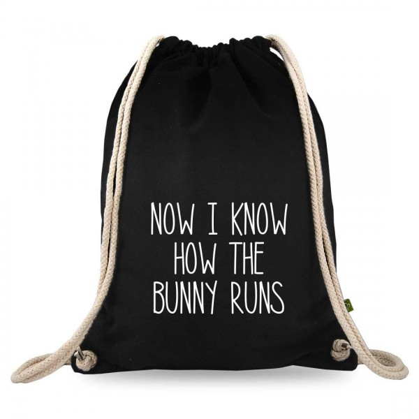 Now i know how the bunny runs Turnbeutel mit Spruch