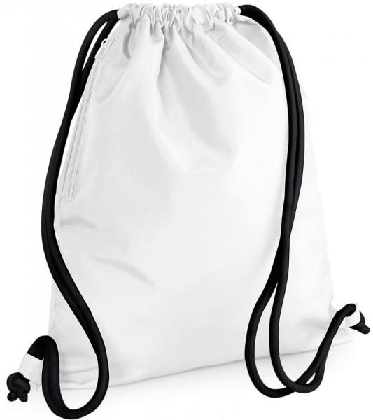 Hochwertiger Turnbeutel Gymsac aus Polyester weiß-schwarz