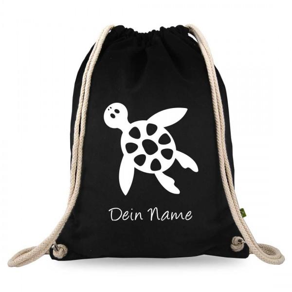 Turnbeutel mit eigenem Namen und Schildkröte