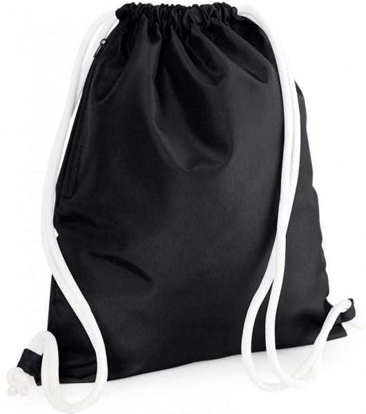 Hochwertiger Turnbeutel Gymsac aus Polyester schwarz-weiß